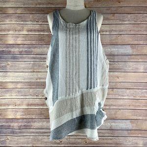 Luukaa Lagenlook Sleeveless Linen Tunic Dress